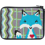 beginner needlepoint coin ourse kit, stithc & zip blue fox