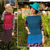 image showing 2 versions of the 'trillby' sweater- it's a sleeveless boat neck herringbone lace vest/. tied at the waist, one version is shorter- vomes down to the hips, and the other verson is long it comes down past the hips and the extension is knitted in a lighter blue than the main body