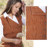 composite image of the tumbleweed vest knit in a pumpkin orange color featuring roaming cables and buds, and buttons up the side, from the high desert knitting book by jennifer thompson