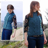composite image showing the tumbleweed vest knit in a medium blue with light blue buttons up the side, the vest features verical cables and vines travelling up the vest. from the high desert knitting collection by jennifer thompson
