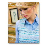 cover of louisa harding's winters muse portraits knitting pattern book, showing a woman wearing a light blue knitted vest with fair isle colorwork running horizontally
