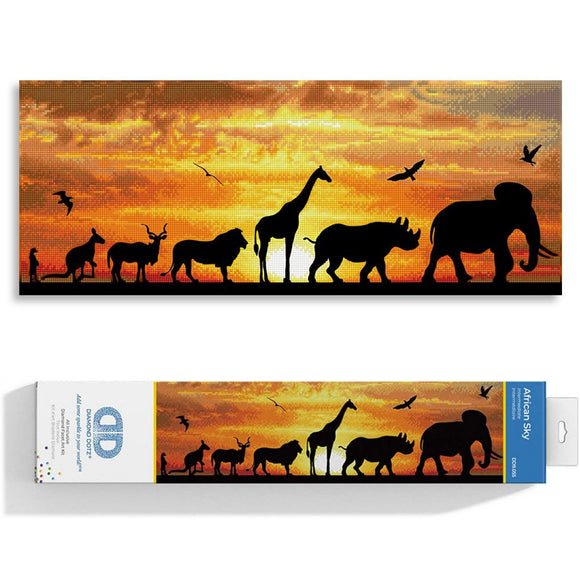 image of a bright golden sunset with the black silhouettes for african savannah animals walking across left to right, the sunset is created in thousands of tiny sparkling diamonds