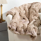 Jumbo Cabled Throw Blanket Free Knitting Pattern