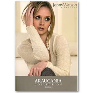 cover of araucania collection book 2 designs by jenny watson showing a woman wearing a thin semi translucent cardigan with long sleeves in a cream white