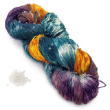 southern sole sock yarn with beads in sparkly clear