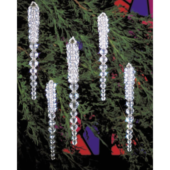 Christmas Ornament Kit, Handmade Beaded Icicles #5489