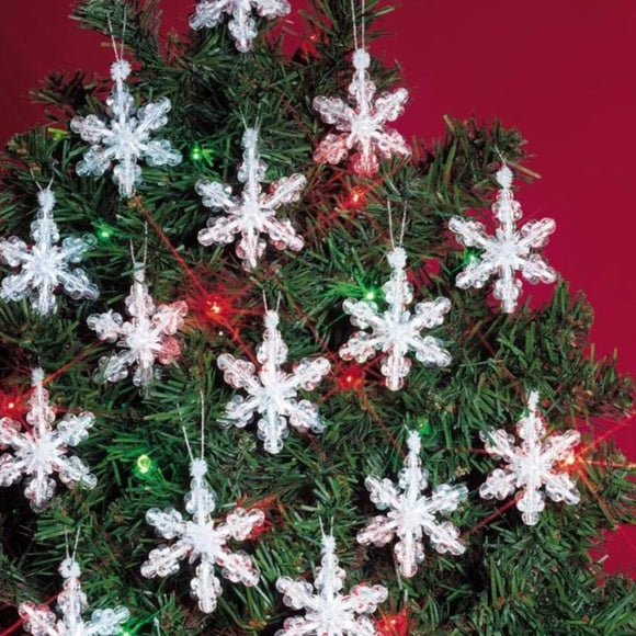 white christmas tree ornaments beaded snowflakes
