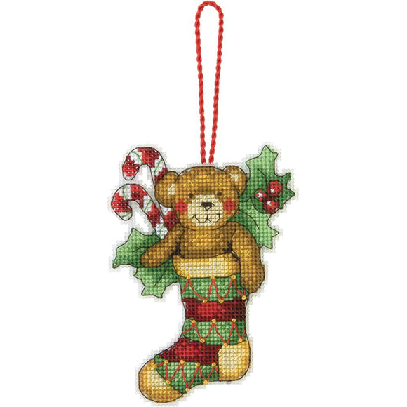 christmas ornament cross stitch bear in stocking