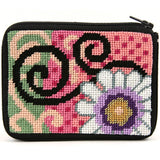 beginner needlepoint coin ourse kit, stitch & zip daisy swirl