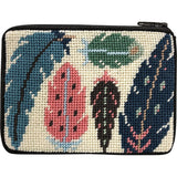 beginner needlepoint coin ourse kit, stitch & zip feathers