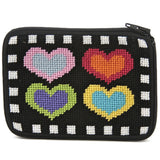 beginner needlepoint coin ourse kit, stithc & zip hearts on black