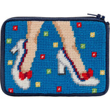 beginner needlepoint coin purse kit, stitch & zip mod maggi