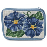 beginner needlepoint coin ourse kit, stithc & zip morning glories