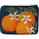 beginner needlepoint coin ourse kit, stitch & zip oranges