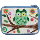 beginner needlepoint coin purse kit, stitch & zip owl