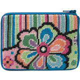 beginner needlepoint coin purse kit, stitch & zip pastel floral with stripes