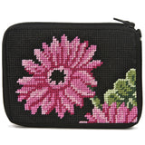 beginner needlepoint coin ourse kit, stithc & zip pink gerber daisies