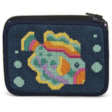 beginner needlepoint coin ourse kit, stithc & zip tropical fish