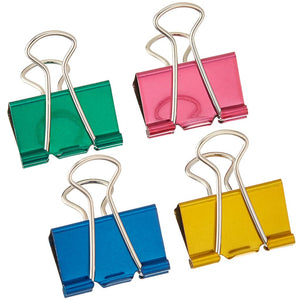 four pack of large metallic binder clips 1 ¼ inches wide in colors red green blue and yellow