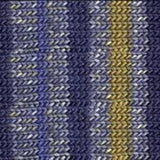 knitted swatch of yarn with stripes of different shades of solid blue with intermittent yellow stripes and alternating speckled blue every other row