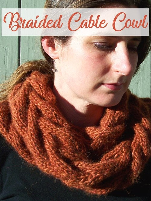 free cowl knitting pattern cabled cowl, braided cowl, bulky