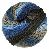 one ball of euro baby maypole tornado 33. in colors of dark charcoal grey, stormy medium blue, light sky blue and tan