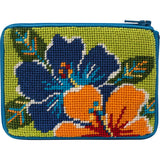 Alice petersons company, stitch and zip coin purse, beginner needlepoint coin purse kit, colorful hibiscus pattern