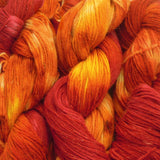 bright orange & red yarn for fall autumn