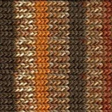 knitted swatch in stripes of differing shades of brown, from dark nut brown to light golden brown interspersed with mottled brown