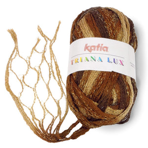 one skein of katia triana lux yarn in shades of browns and tan, showing the mesh when it's opened up what it looks like