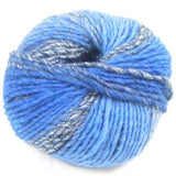 lana gatto bright yarn blues with silver sparkle