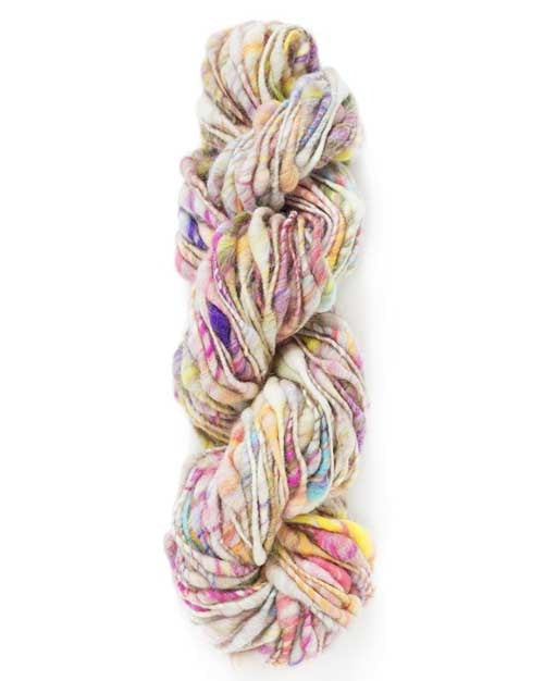 Knit Collage fair trade lumpy  handspun yarn twisted hank knitting wool Cast Away in Color Prism an off white cream color with pops of pinks, purples and yellows