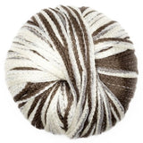 one ball of feza's cali yarn its a bulky chainette yarn in shades of brown and white