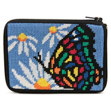 Alice petersons company, stitch and zip coin purse, beginner needlepoint coin purse kit, butterfly and daisies pattern
