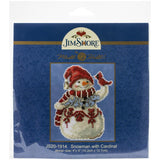 Winter Cross Stitch Kit, Frosty the Snowman with Cardinal
