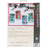 package of cross stitch kit for christmas tree ornaments shaped liked jars holding christmas characters