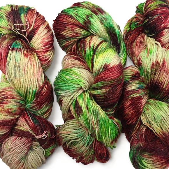 Christmas Indie Dyed Sock Yarn, Holly & Berries