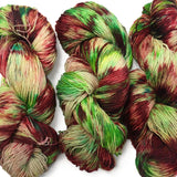 christmas yarn hand dyed red and green speckled