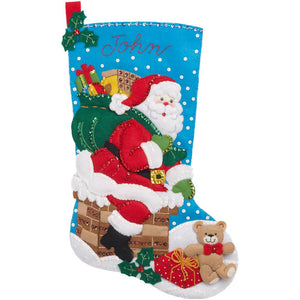 "Down the Chimney Christmas Felt Applique Kit 18"" Long Stocking"
