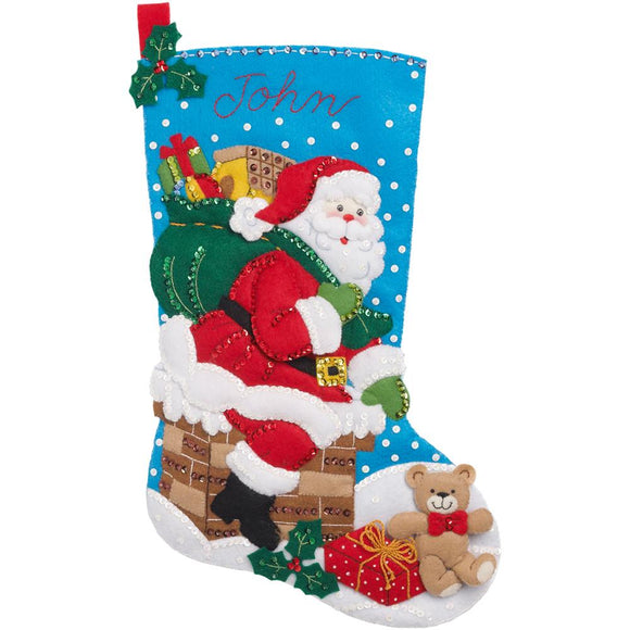 family custom christmas stockings santa coming down chimney