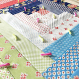 image of a quilt that has been basted with wonder pins which can be pinned with one hand the quilt is expanding squares of rectangular shapes and the pins are placed randomly on the quilt to baste the various layers together.