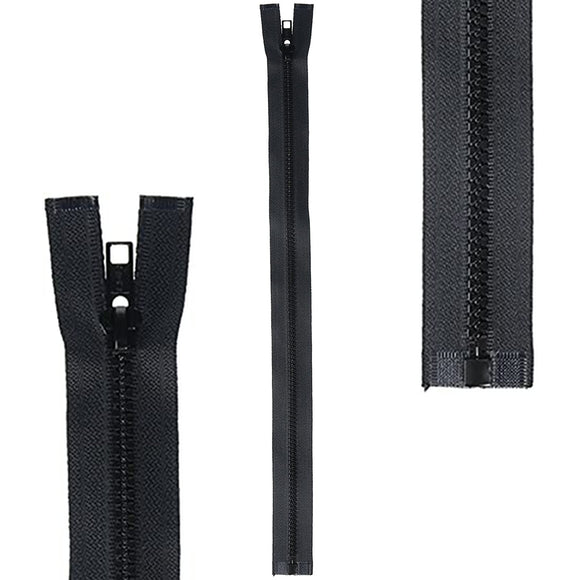 single end plastic sports zipper 22 inch black