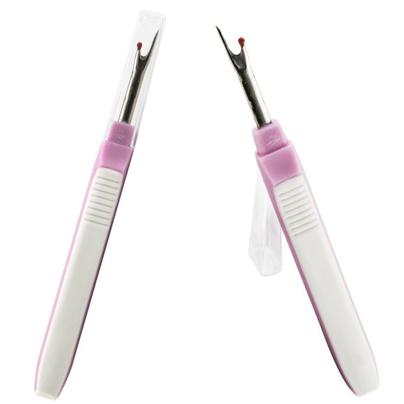 image of two singer comfort grip seam rippers in pink and white. the left one shows the protective plastic cover over the tip of the seam ripper. the right image shows the cover removed.