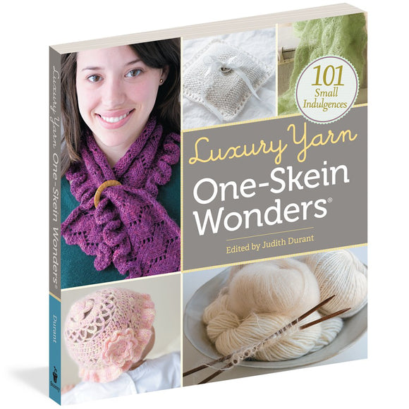 image showing the book 101 small indulgences luxury yarn one-skein-wonders by judith duran featuring an image of a woman wearing a purple lace knit scarf, a white ringbearer pillow, a light green lace scarf, a baby with a pink lace hat and a bowl of super soft angora yarn in white
