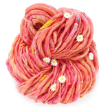 knit collage daisy chain yarn peopny pink flower yarn