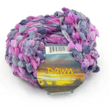 knitting fever dawn novelty yarn in purple grey and lilac with ribbon base and fluffy pom poms