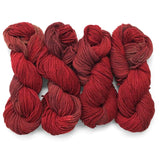 four twisted hanks laid side by side, hand dyed in shades of crimson and maroon red with subtle color shifts