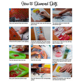 image demonstrating how to do diamond dotz with step by step picture and written instructions