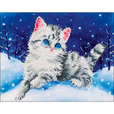 kids craft kit kitten palyinf in snow diamond dotz