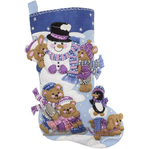 "Playing in the Snow, Christmas Felt Appliqué Stocking Kit, 18"" Long"